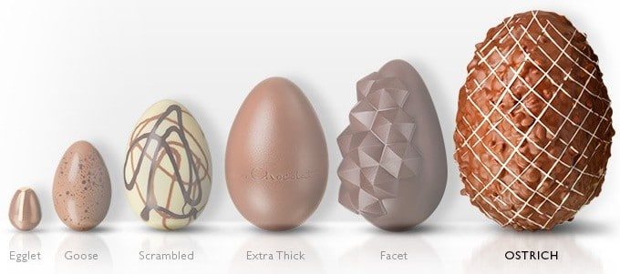 Each Of Hotel Chocolats Easter Eggs Side By Side For Size Comparison