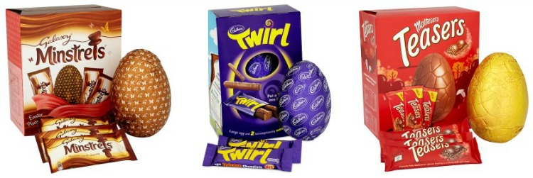 Galaxy Minstrels Easter Egg, Twirl Easter Egg And Malteasers Easter Egg