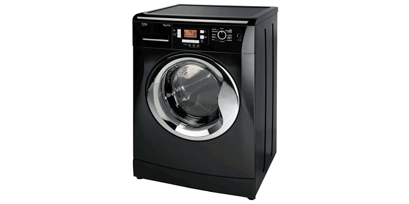 A Black Beko Washing Machine With The Price From The Co-Op Electrical