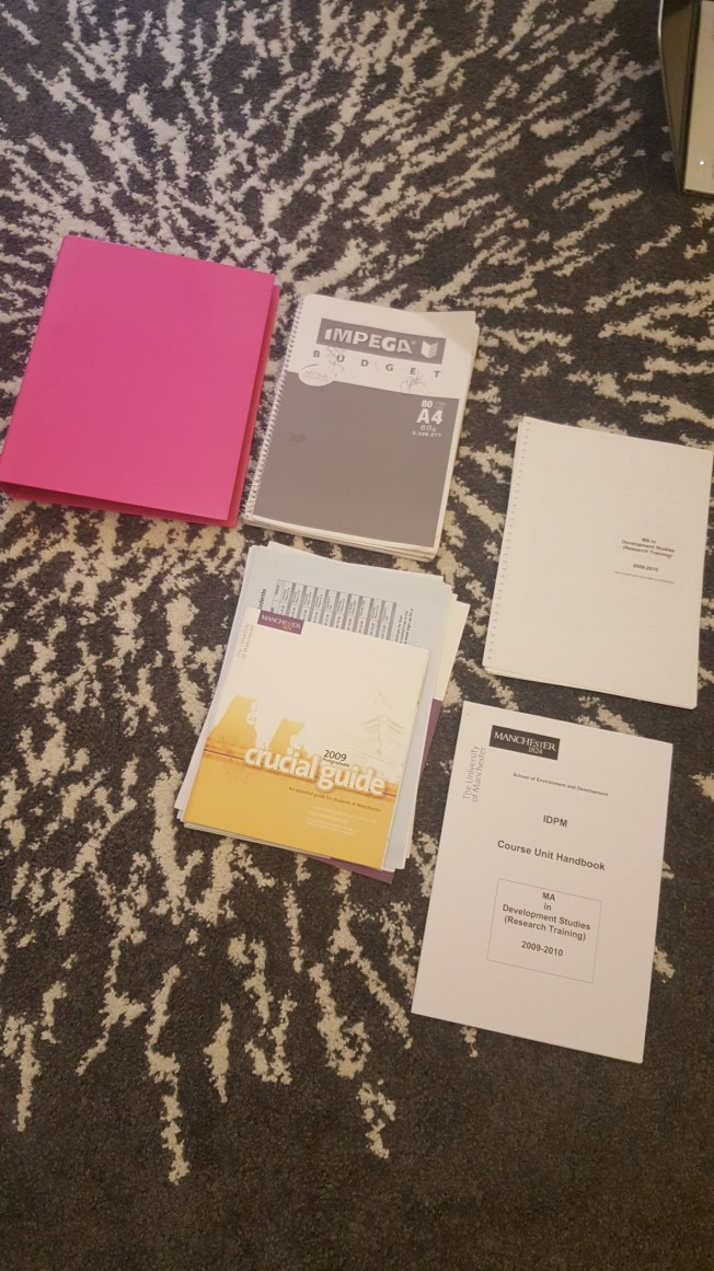 36 - Pink folder 1 37 - A4 notebook 38 - Assorted papers 39 - Course unit handbook 40 - Course book