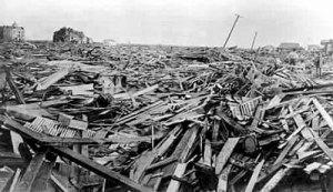 Storm surge in Galveston 1900 storm