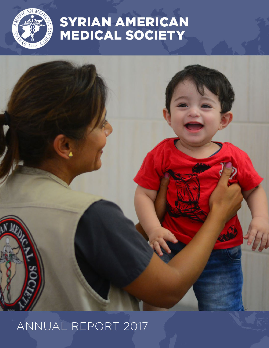 Annual report cover showing medical worker and child