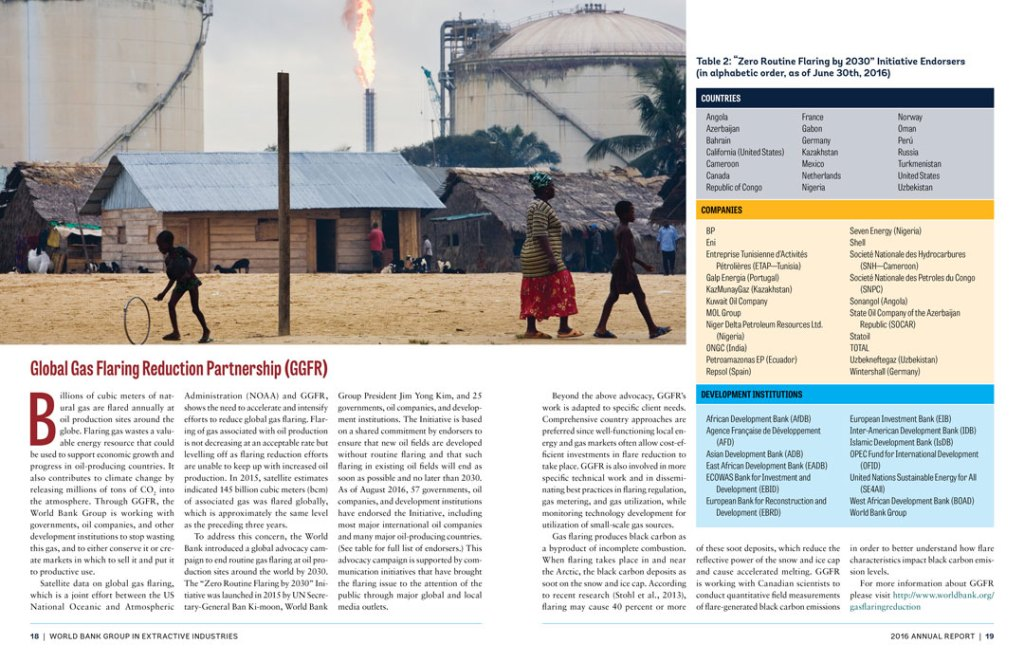 Interior spread: Global Gas Flaring