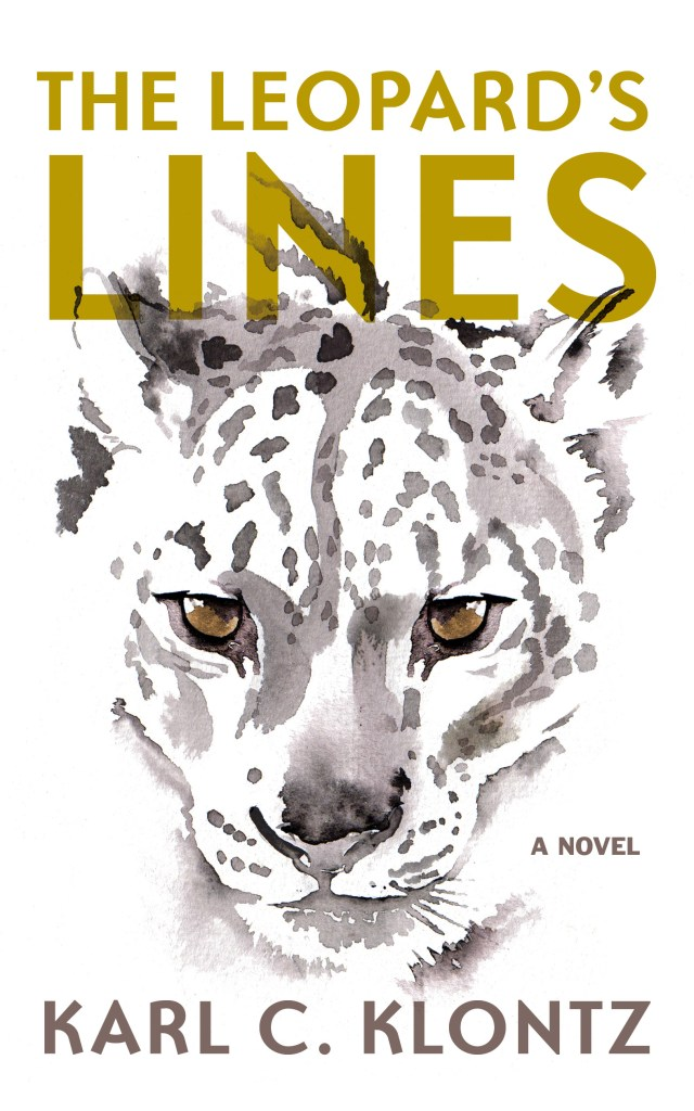 Book cover featuring an illustration of a leopard's face