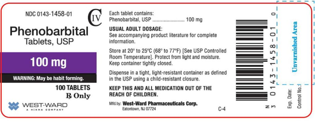 """A package label for the medication Phenobarbital. The dosage, 100 mg, is in a purple box below the name. A warning reads """"May be habit formatting"""". Further instruction describes the dosage. The drug is manufactured by West-Ward Pharmaceuticals Corp. A barcode is visible on the right. A red long rectangular outline with rounded corners frames the label."""