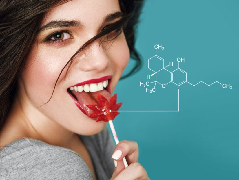 How do edibles affect you? Girl with a cannabis lollipop.