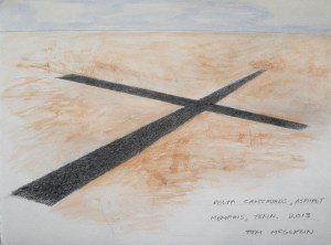 Delta Crossroads, 2013, drawing of proposed sculpture, Memphis, Tennessee. This work will be paved in place, in asphalt, on an abandoned site in as part of Memphis Social exhibition, slated to open in the spring of 2013.