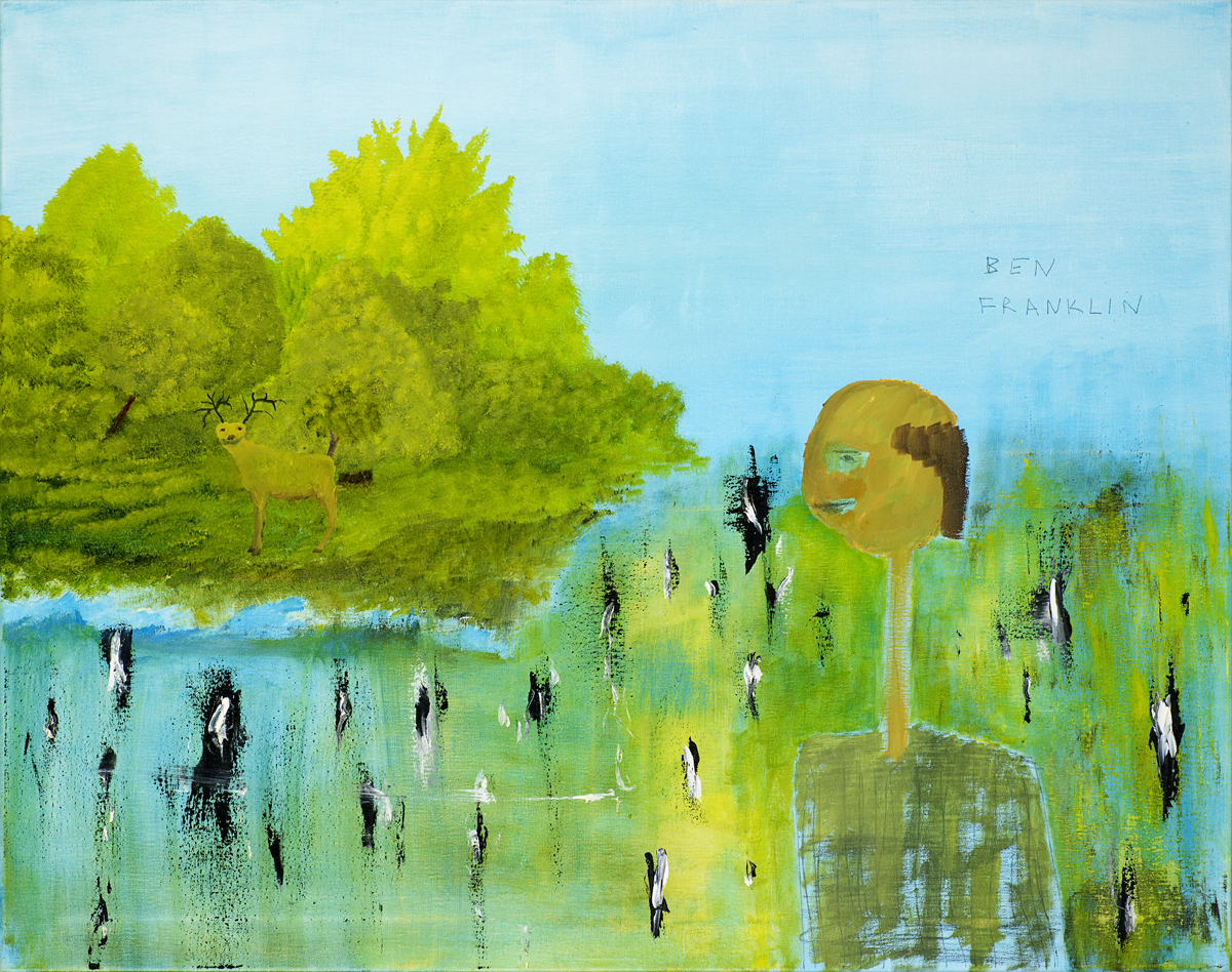 Ben Franklin, the Inventor of Trees, a painting by John Lurie