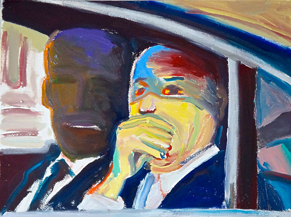 """The Senator Gets the News the World Is Burning, oil on sized paper, 11"""" x 14"""", 2014, by Stephen Lack"""