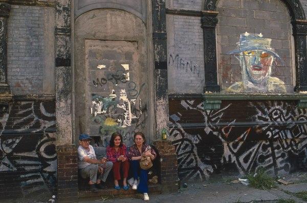 Trio, E. 10th St. Ave. B & C, 1982, photograph by Philip Pocock