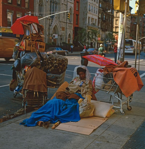 Shopping Bag Woman, E. 7th St. & 2nd Ave., 1982, photograph by Philip Pocock