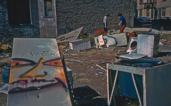 Fridge, E. 3rd St. and Ave. C, 1983, photograph by Philip Pocock