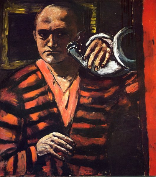 Max Beckmann Self Portrait with Horn