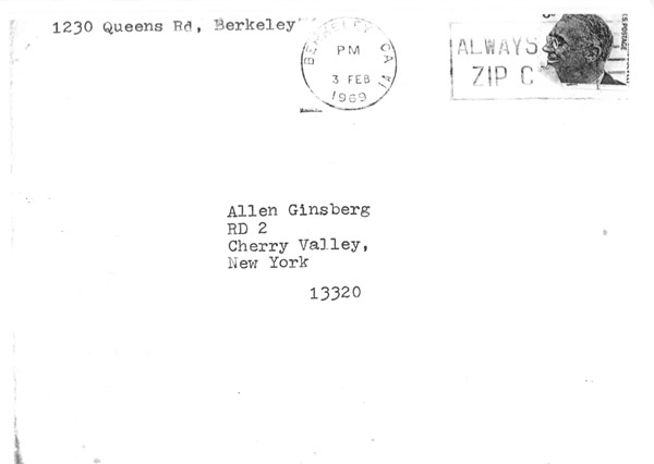 Timothy Leary Envelope Allen Ginsberg 1969