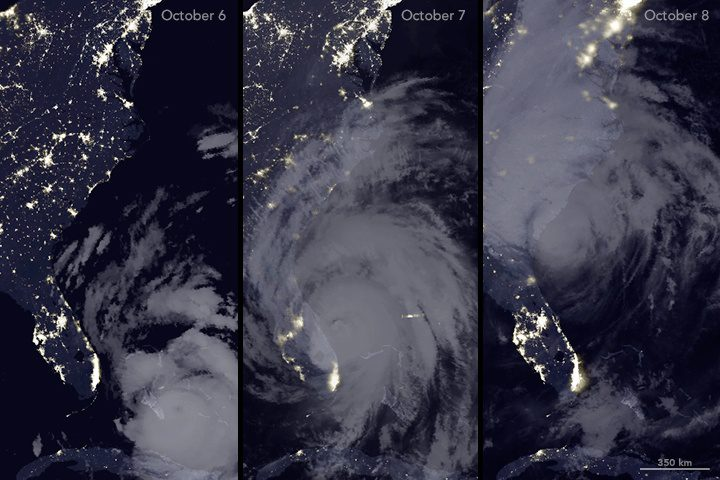 The Visible Infrared Imaging Radiometer Suite (VIIRS) on the Suomi NPP satellite captured three nighttime images of the Atlantic coast. The image on the left was acquired on Oct. 6; the middle image shows the same area on Oct. 7; and the image on the right was acquired on Oct. 8. (Credit: NASA Earth Observatory maps by Joshua Stevens, using VIIRS day-night band data from the Suomi National Polar-orbiting Partnership, data from the NASA-NOAA GOES project, and Unisys Weather.)