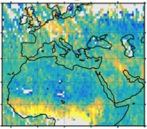 A map shows human carbon dioxide emissions over Europe, the Middle East and northern Africa. High emissions over Germany and Poland (top center) and Kuwait and Iraq (right) mostly come from burning fossil fuels, but over sub-Saharan Africa, they mostly come from fires. (Credit: FMI)