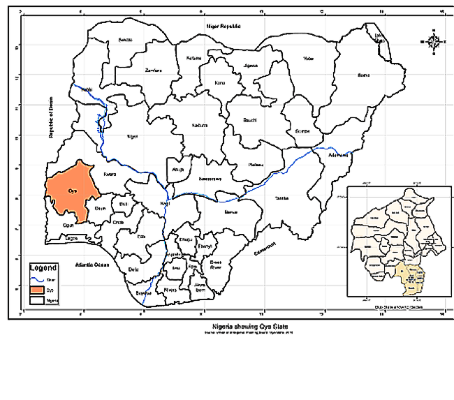 Figure 1 - Map showing the Oyo State in Nigeria