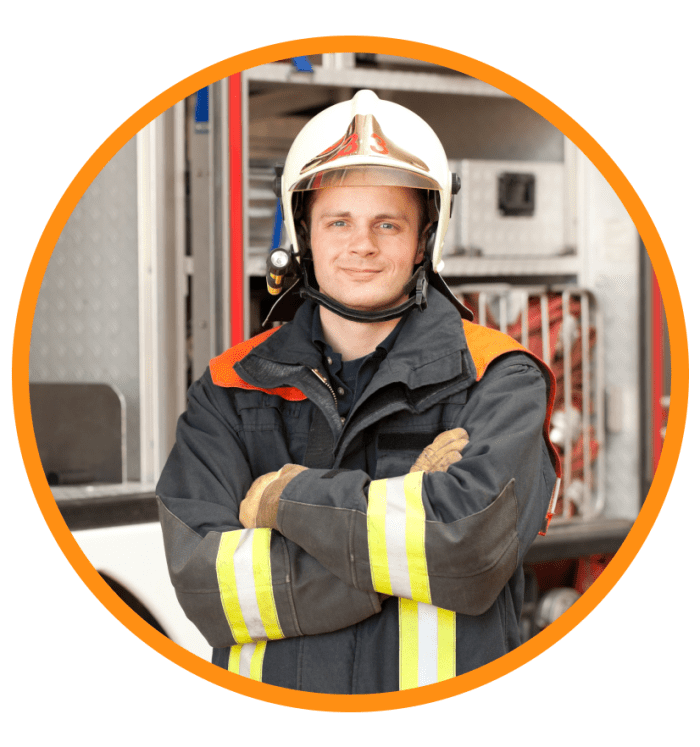 A male firefighter