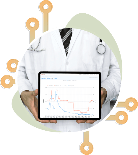Doctor holding tablet using remote monitoring