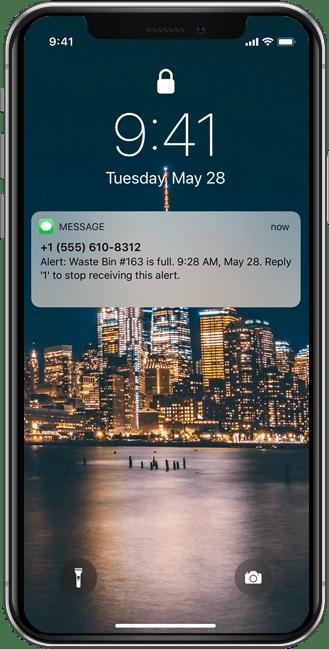 Mobile app waste bin monitoring