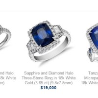 Blue Nile Presents A Stunning Sapphire and Diamond Three-Stone Ring in 18k White Gold