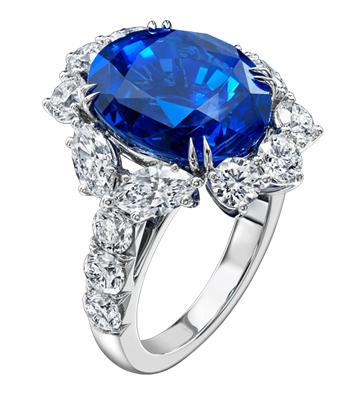 Harry Winston Oval Sapphire and Diamond Ring