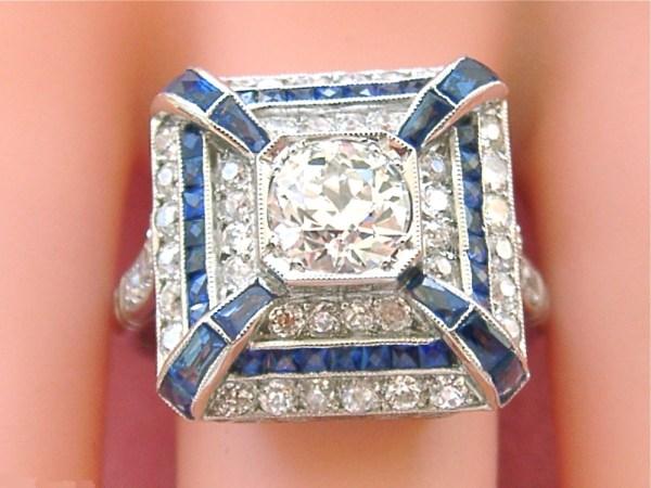 ANTIQUE ART DECO 2.26ctw DIAMOND SAPPHIRE PLATINUM COCKTAIL RING 1930 FRENCH