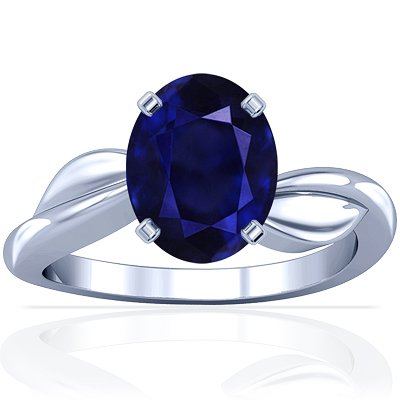 Platinum Oval Cut Blue Sapphire Solitaire Ring