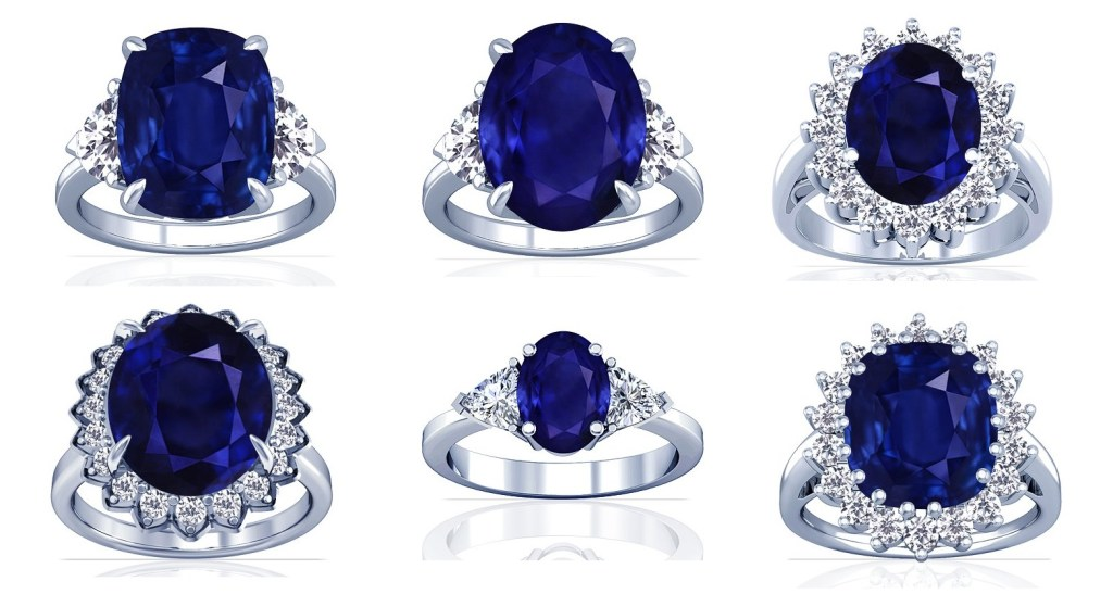 Gorgeous sapphire and diamond rings set in platinum are sure to take anyone's breath away. These are some of the most opulent sapphires you will ever see, and some of the finest platinum that can be manufactured. The ring designs are exquisite, and sure to bring pleasure to the owner forever.