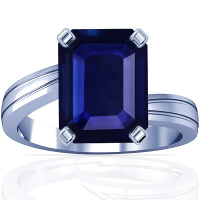 Platinum Emerald Cut Blue Sapphire Solitaire Ring
