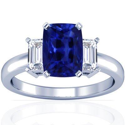 Platinum Cushion Cut Blue Sapphire Three Stone Ring (GIA Certificate)