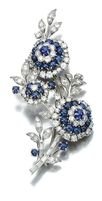 SAPPHIRE AND DIAMOND BROOCH, CARTIER