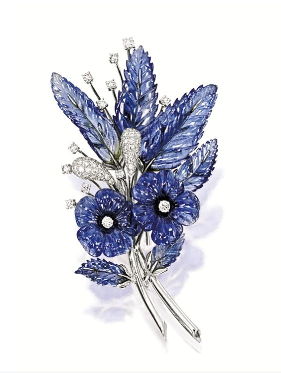 "CARVED SAPPHIRE AND DIAMOND ""FLOWER"" BROOCH"
