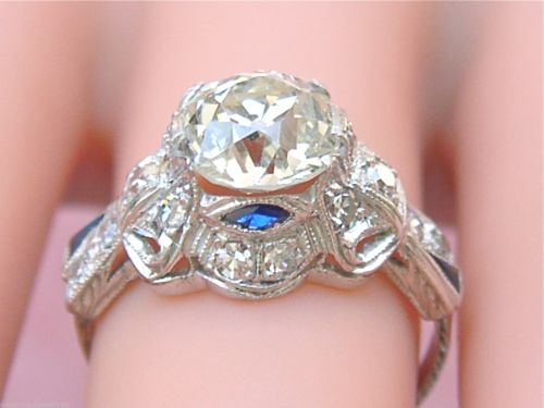 ANTIQUE ART DECO 1.84ct MINE DIAMOND SAPPHIRE PLATINUM ENGAGEMENT RING EGL CERT