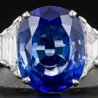 A Gorgeous 3.54 Carat No-Heat Sapphire, Platinum and Diamond Ring
