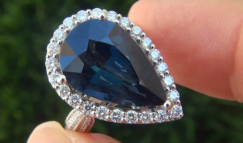 GIA 9.73 ct UNHEATED Natural VVS Blue Green Sapphire Diamond 18k White Gold Ring