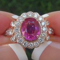 A Elegant GIA 3.21 Ct Unheated Natural VVS Pink Sapphire Diamond 14k Gold Engagement Ring