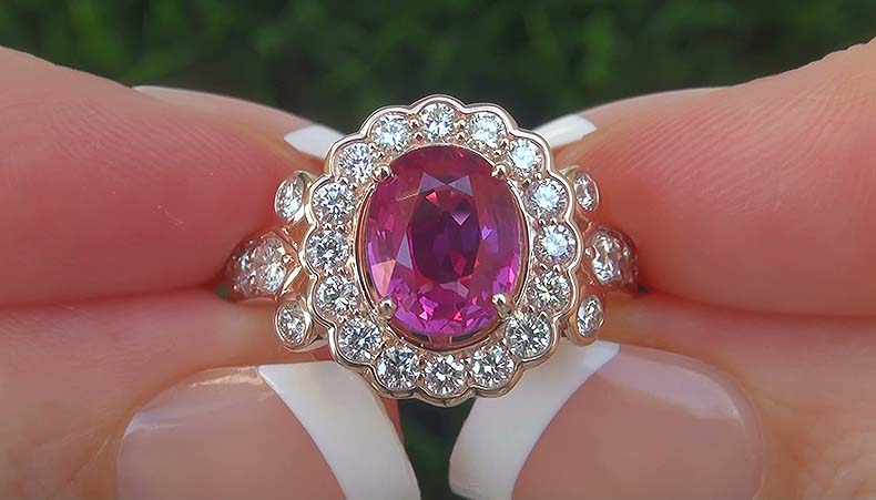 GIA 3.21 ct UNHEATED Natural VVS Pink Sapphire Diamond 14k Gold Engagement Ring