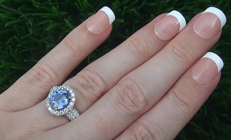 GIA 4.14 ct UNHEATED VVS Violet Blue Sapphire Diamond 14k White Gold Estate Ring