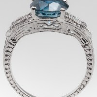 A Gorgeous 2 Carat Blue Green Montana Sapphire and Diamond Ring