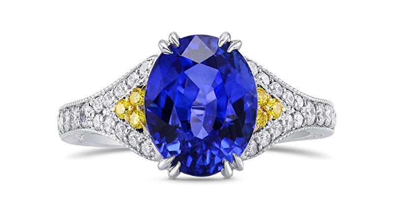 4.59Cts Sapphire Side Diamonds Engagement Side Stone Ring Set in Platinum by Leibish & Co