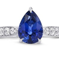 A Spectacular 2.63 Cts Sapphire Side Diamonds Engagement Side Stone Ring Set in 18K White Gold