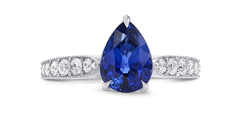 2.63Cts Sapphire Side Diamonds Engagement Side Stone Ring Set in 18K White Gold