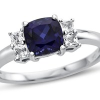 A Beautiful Cushion Created Sapphire and White Topaz Ring 10kt Gold