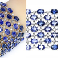 A Spectacular Sapphire Mesh Bracelet with Diamonds in 18k White Gold 120.00 Cwt