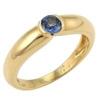 A Beautiful Cartier Semi Bezel Set Sapphire 18k Yellow Gold Band Ring