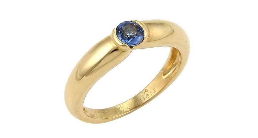 Cartier Semi Bezel Set Sapphire 18k Yellow Gold Band Ring