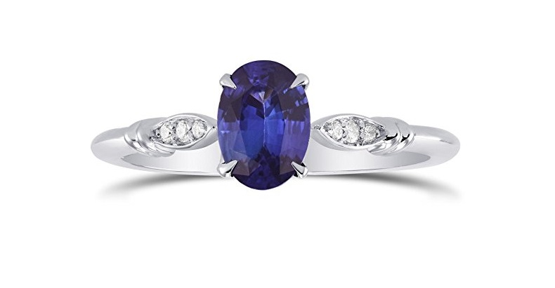 Sapphire Gemstone Side Diamonds Side Stone Ring Set in 18K White Gold