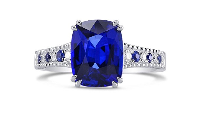 3.93Cts Sapphire Side Diamonds Engagement Side Stone Ring Set in Platinum