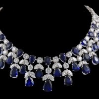 A Spectacular Platinum Diamond and Sapphire Necklace